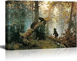 wall26 - Black Bears in Forest Painting - Canvas Art Wall Decor - 32