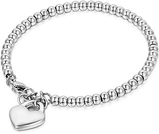 Oidea Bracciale Braccialetto per Donna Braccialetto perline in acciaio inox con pendente cuore,colore a scelta