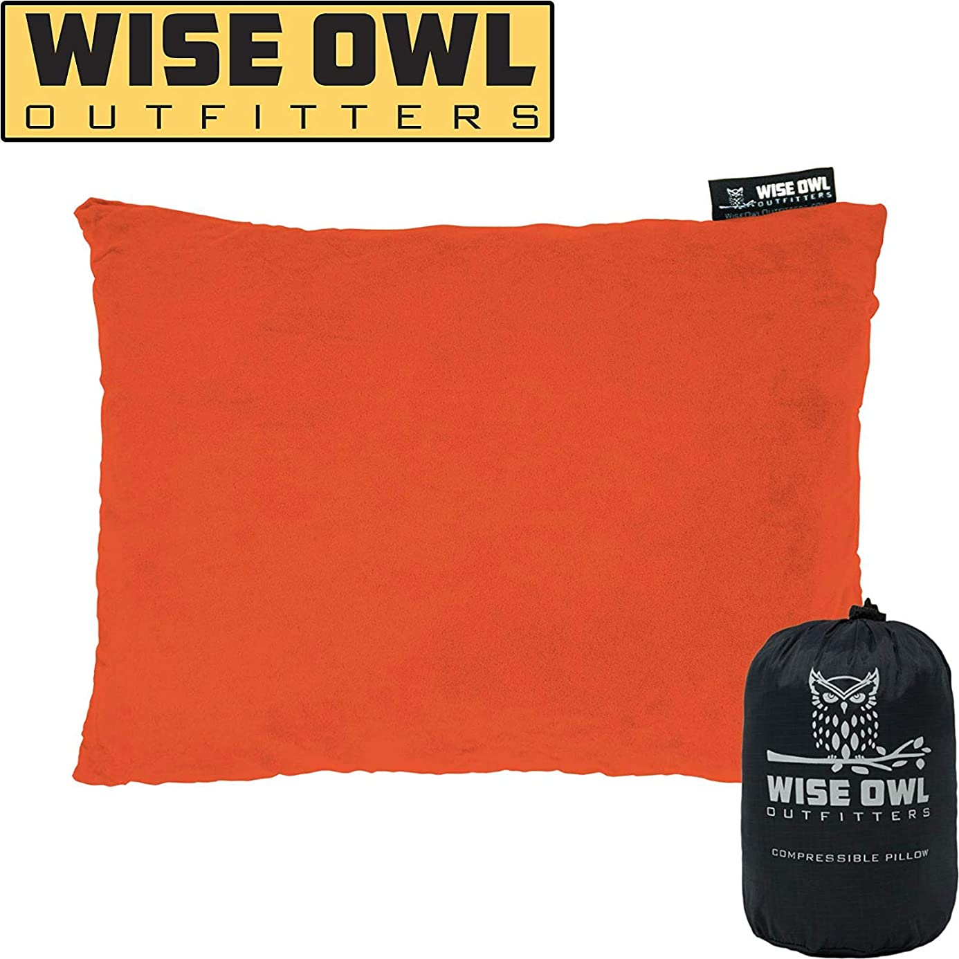 Wise Owl Outfitters Camping Pillow Compressible Foam Pillows – Use When Sleeping in Car, Plane Travel, Hammock Bed & Camp – Great for Kids - Compact Small, Medium & Large Size - Portable Bag