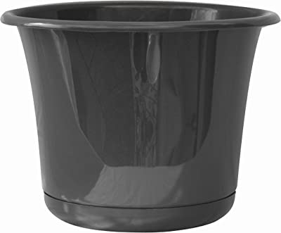 """Bloem Expressions Planter w/Saucer (EP08908), Charcoal Gray, 8"""""""