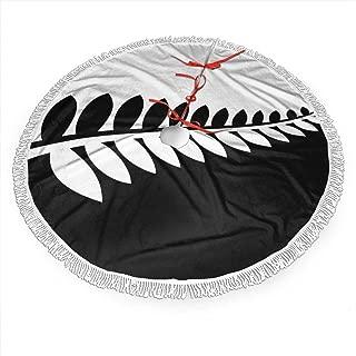XIKEWL NZ Flag Silver Fern Black & White Christmas Fringed Lace Tree Skirt Festival Living Room Decoration