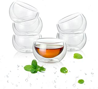 Luxtea Double-walled Borosilicate Teacup Glass Heat-resisting Tea Cup Hold 2 Oz, Set of 6