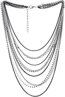 COOLSTEELANDBEYOND Black Silver Waterfall Multi-Strand Chains Statement Collar Necklace with Rhinestones Chains, Dress
