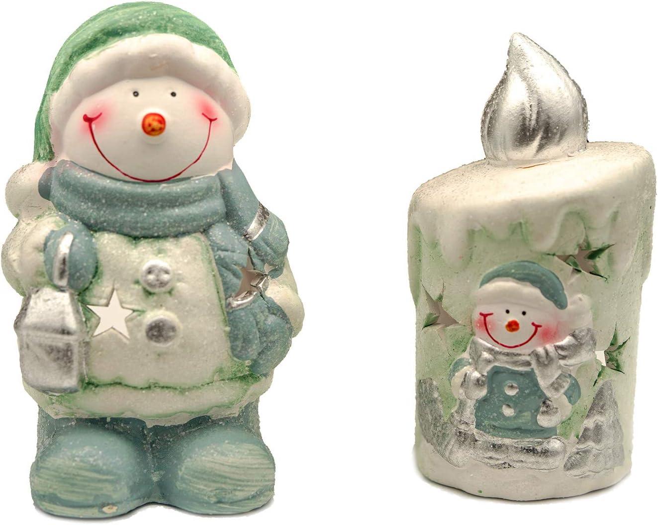 portacandele composto da 3 case natalizie con Babbo Natale Knox Set di 3 casette colorate con Babbo Natale