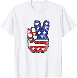 Fourth 4th of July Shirt American Flag Peace Sign Hand Tee