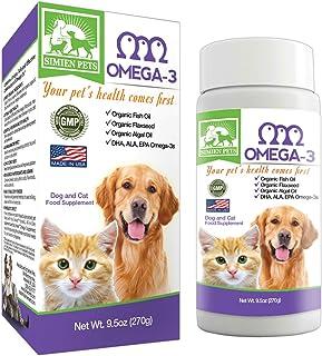 Organic Omega 3 Dogs & Cats - Fish, Algal & Flaxseed Oils - Shinier Coat & Skin - Optimal Heart, Brain & Eye Health - Anti...