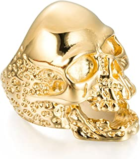 Mens Womens 316L Gold Stainless Steel Skull Rings Band Great Gift Size 7-14 Gold/Black/Silver