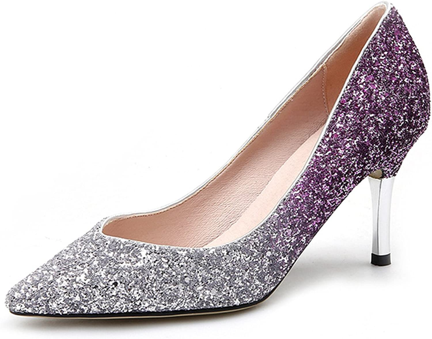 Gome-z shoes Women New Wedding shoes High Heel Pumps Silver Glitter Pointed Toe Stilettos Slip on Party shoes Plus Size 42