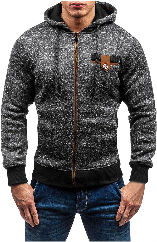 Aayomet Hoodies Sweatshirts for Men Winter Warm Solid Tops Zipper Long Sleeve Athletic Hooded Pullover Blouses Cardigan