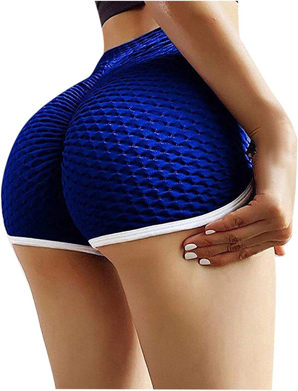 Biker Shorts for Women,Women's High Waisted Workout Scrunch Bottom Shorts Pants Ruched Yoga Shorts Butt Lift Trousers
