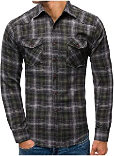 Men Slim Fit Blouse Casual Plaid Long Sleeves Turn-Down Collar Shirt Autumn Fashion Button Top