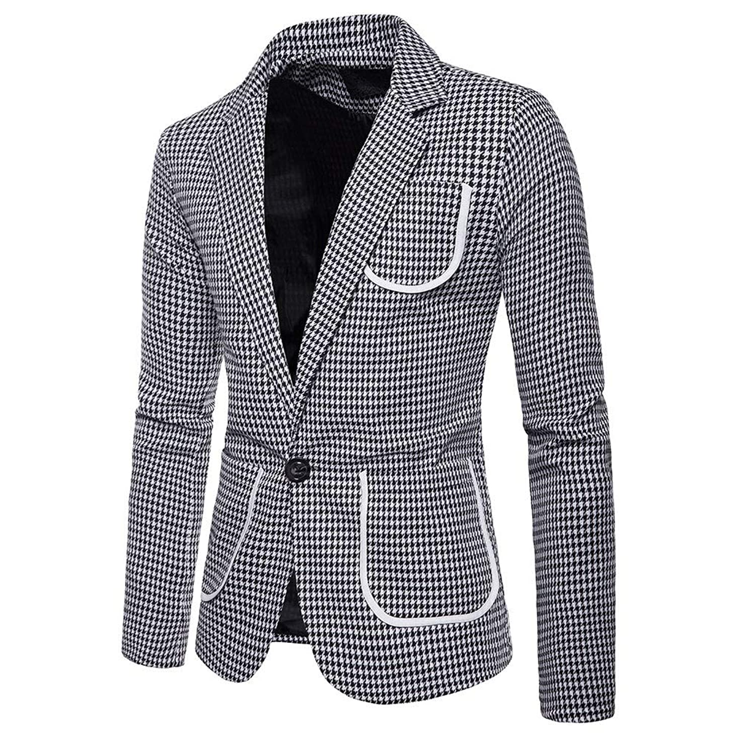 Charm Men's Casual One Button Fit Suit Blazer Coat Jacket Pineapple Printed Top