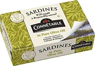 Connetable Sardines in Pure Olive oil, 4.375 Ounce (Pack of 12)