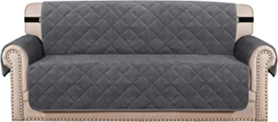 "Sofa Protector Cover Quilted Thick Velvet Plush Sofa Cover 3 Seater Couch Cover for Dogs Pets | Furniture Protector with Non-Slip Two Elastic Straps on Back and Base (Seat Width: 70"", Grey)"
