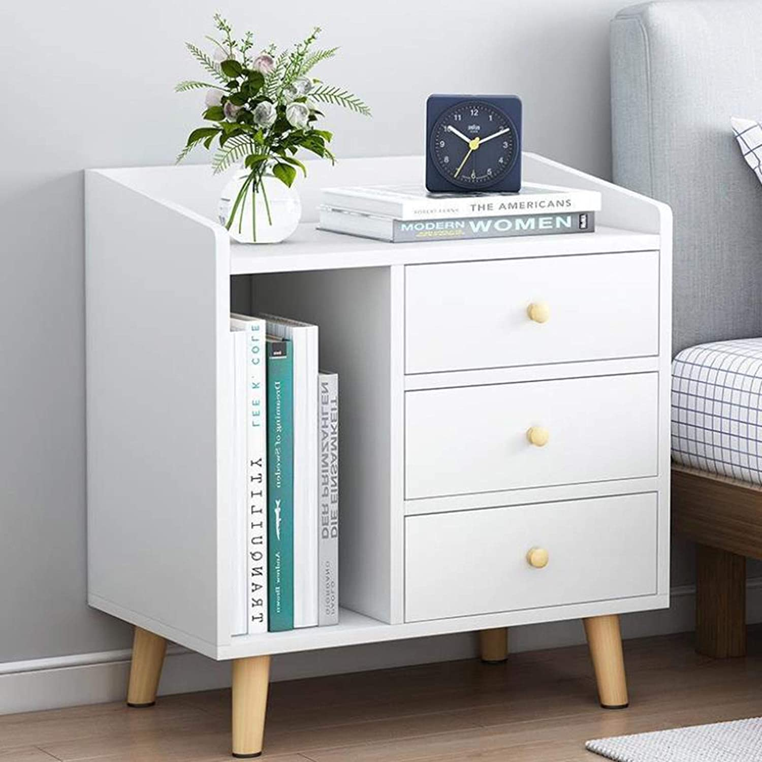 ZJDM White Bedside Storage Cabinet 3 Max 90% OFF Nordic Drawer En Challenge the lowest price of Japan Nightstand