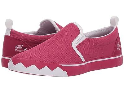 Lacoste Kids Gazon Croco 220 1 (Little Kid) (Dark Pink/White) Kid