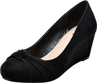 Women's Wide Width Wedge Shoes - Slip On Round Toe Heel Pump Dress Shoes.
