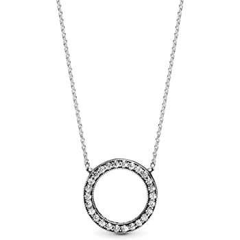 """Pandora Jewelry Circle of Sparkle Cubic Zirconia Necklace in Sterling Silver, 17.7"""""""