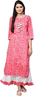 Ishin Women's Cotton Pink & White Embellished A-Line Kurta Skirt Set