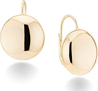 Miabella 18K Gold Over Sterling Silver Italian High Polished Round Dome Button Bead Ball Statement Leverback Earrings for Women 12mm, 18mm 925 Made in Italy