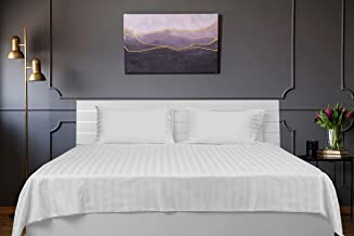 Deyarco Hotel Linen White 1 inch stripe Double Size 220 x 240 cm Bedding Set - 3 Pieces