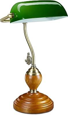 Relaxdays Lampe de banquier, abat-jour en verre inclinable et socle courbé, pour bureau, rétro, bibliothèque, vert 10034419