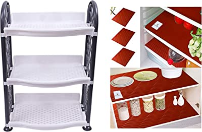 Kuber Industries Plastic 3 Layer Multipurpose Storage Rack (Grey) -CTLTC010948 (26 cm X 20 cm X 42 cm) & M Refrigerator Drawer Place Mats Set of 6 Pcs (13 * 19 Inches_Red_Pack of 6) Combo
