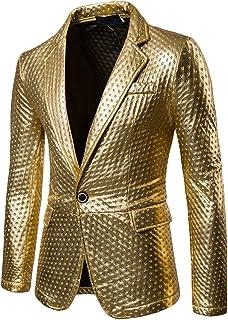 Zhuhaitf Mens Single Breasted Blazers Silver Gold Black Shiny Casual Blazer Jacket Coat Blazer