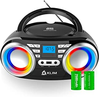 KLIM B3 CD Boombox Portable Audio CD Player, FM Radio, Rechargeable Battery, Bluetooth, MP3 and AUX. Equipped with Super B...