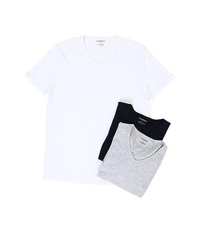 Emporio Armani 3-Pack V-Neck T-Shirt (White/Grey Melange/Navy) Men