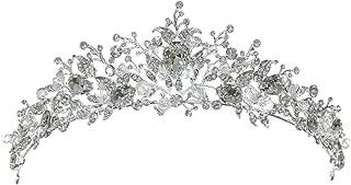 SAMKY Silver Wild Flower Crystal Beads Tiara Crown T1302