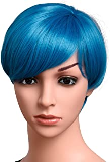 Short Blue Bob Wigs For Women 100% Kanekalon Fiber Cosplay Daily Party Synthetic Wig 6 inches (TEAL BLUE)