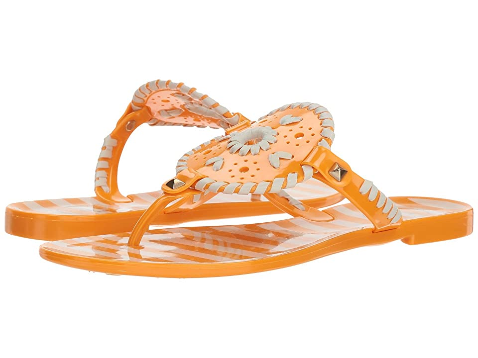 Jack Rogers Striped Georgica Jelly (Tang/White) Women