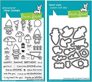 Lawn Fawn Oh Gnome! Clear Stamp Set and Matching Lawn Cuts Die Set (LF1880, LF1881) Bundle of Two Items