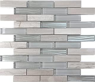 Modket TDH230MO White Oak Marble Natural Stone Gray Crystal Metallic Wave Cold Spray Glass Blends Brick Joint Mosaic Tile Backsplash
