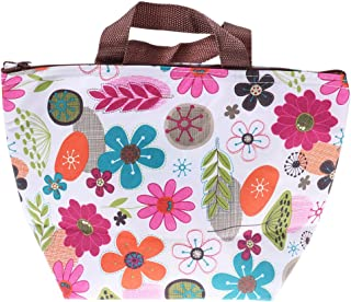 BESTONZON Lunch Box Tote Bag Flowers Pattern Insulated Cooler Lunch Bag with Ice Pack for Work Picnic