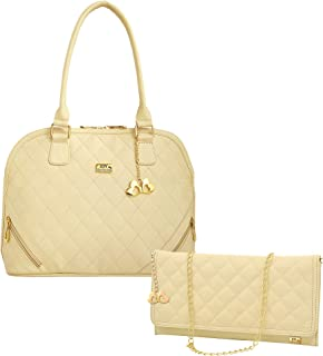 ANGLOPANGLO Sophia Cream Imported Genuine leatherette Bag for Girls and Women with Quilting Sling Combo