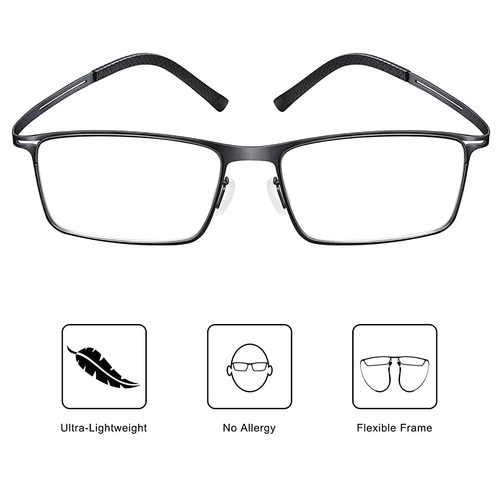 Blue Light UV Blocking Light Filter Computer Reading Glasses Anti Eye Fatigue Transparent Lens Ultra-Lightweight Supportive Flexible Frame Vision Care Unisex for Men and Women (Black)