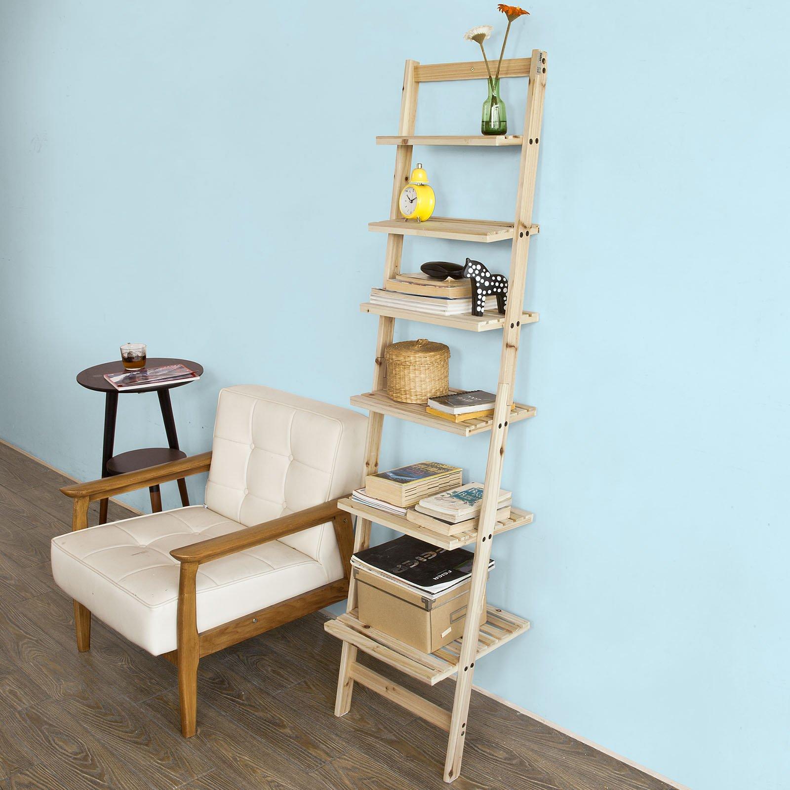 SoBuy® - Estantería de escalera, librería, ménsula esquinera, estantería modular, de cedro, cód. FRG161-N,IT: Amazon.es: Hogar