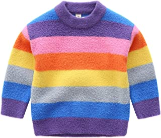 JELEUON Little Kids Girls Colorful Striped Round Neck Rainbow Print Pullover Sweater Cotton Warm Sweatshirt Tops