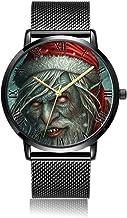 Whiterbunny Customized Evil Santa Wrist Watch Unisex Analog Quartz Fashion Black Steel Strip/Black Dial Plate for Women and Men