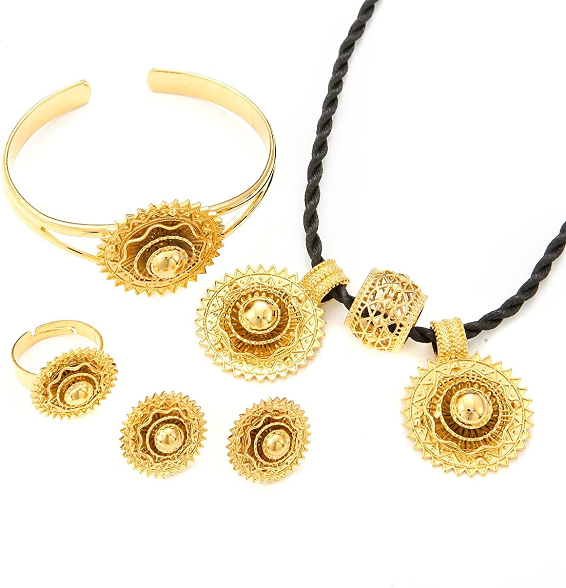 NA 24K Gold Color Ethiopian African Ethiopian Eritrean Women Trendy Jewelry Sets