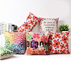 Kridhay Natura Life Cotton Decorative Throw Pillow/Cushion Covers (Multicolour, 24 x 24 inch) Set of 4.