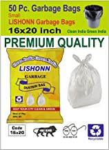 VEDANT SANTOSH Biodegradable Garbage/Dustbin Bags with Handles, Large, 16 X 20 inch (White) - Pack of 50