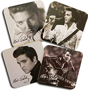 Midsouth Products Elvis Set of 4 Coasters - Black and White