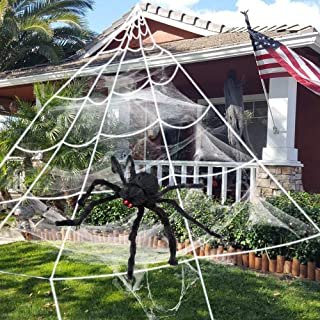 EZIGO Halloween Spider Decorations 3 Pack (1 Spider + Triangle Web + Stretch Web) Giant Spider 75cm/30
