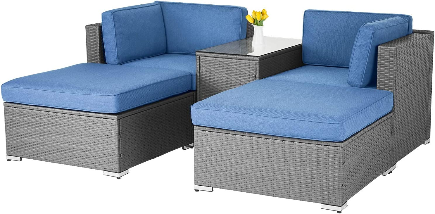 SOLAURA 5-Piece Outdoor Patio Furniture Long Beach Mall Rattan Wicker PE Set Ch Our shop most popular