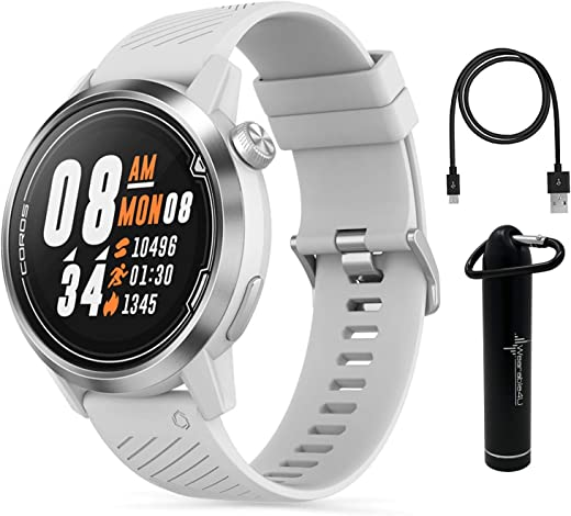 Coros APEX Premium Multisport GPS Watch with Heart Rate Monitor, Sapphire Glass and Wearable4U Power Bank Bundle (46mm White + Power Bank)