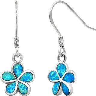 Sterling Silver Plumeria Flower Hook Earrings with Simulated Blue Opal