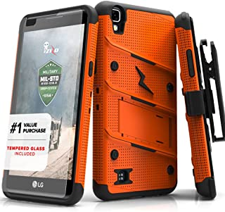 ZIZO Bolt Series LG X Power Case Military Grade Drop Tested with Tempered Glass Screen Protector, Holster, Kickstand Orange Black